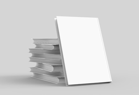 Hardcover books template, pile of blank books mockup and one lean on them for design uses, 3d rendering