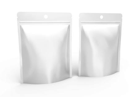 Blank Zipper pouch, two plastic bags template mockup for design uses in 3d rendering