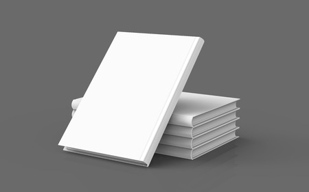 Hardcover books template, stack of blank books mockup and one lean on them for design uses, 3d rendering