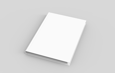Hardcover book template, blank mockup for design uses, elevated view 3d rendering