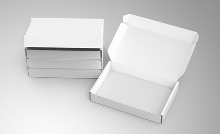 Blank tuck top box template, stack of paper boxes mockup isolated on light gray background, some open and the others closed, elevated view Stock Photo