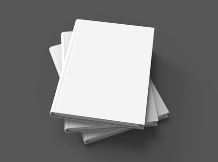 Hardcover books template, pile of blank books mockup in spral shaped for design uses, 3d rendering elevated view