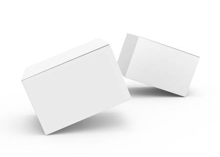 Blank paper box mockup, floating white paper boxes in 3d rendering isolated on white background 版權商用圖片