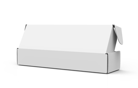 Blank paper box mock up, packaging elements for design uses in 3d rendering, back of open box 版權商用圖片