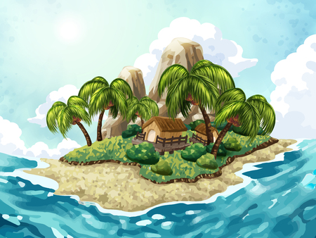 Summer Island background, attractive tropical island in the central of the sea, hand drawn style