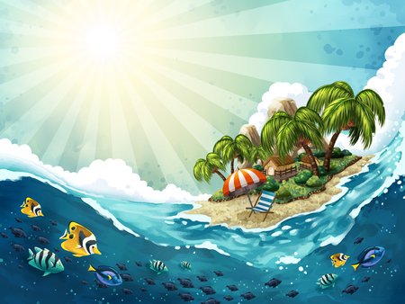 Summer Island Trip background, attractive tropical scenery in relaxing atmosphere, hand drawn style Illustration