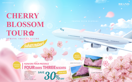 Cherry blossom tour ad, spring travel guide for travel agency or blog with flying flowers and aircraft in 3d illustration