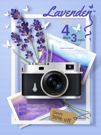 Lavender season tour ads, attractive package tour ads for travel agency and website with delicate camera and flowers in 3d illustration