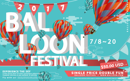 バルーン祭り広告、3 d の図では、旅行代理店およびウェブサイトのため、熱気球ツアー青フラット デザインの背景に分離された素敵な熱気球