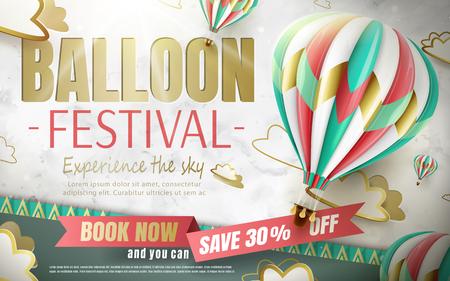 De advertenties van het ballonfestival, de reis van de hete luchtballon voor reisbureau en de website in 3d illustratie, mooie die hete luchtballon op document wordt geïsoleerd snijden achtergrond Stock Illustratie