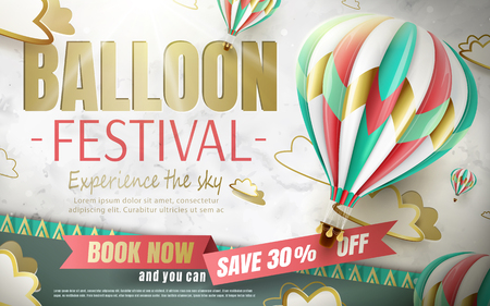 Balloon festival ads, hot air balloon tour for travel agency and website in 3d illustration, lovely hot air balloon isolated on paper cut background