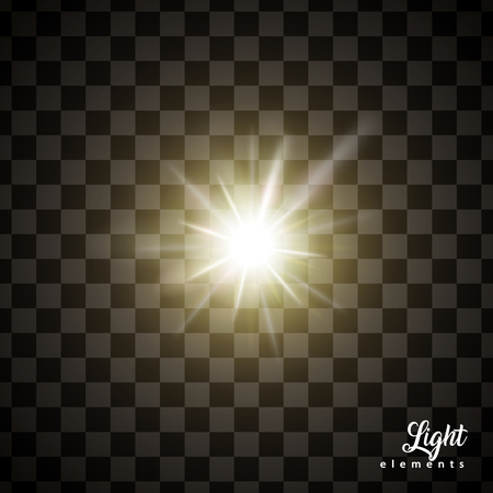 Glowing light effects, special effects isolated on transparent background for design uses Çizim