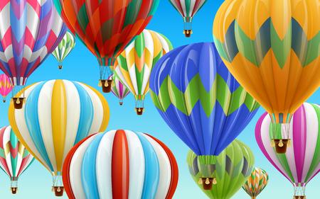 뜨거운 공기 풍선 하늘, 디자인 사용을위한 다채로운 풍선 맑고 푸른 하늘 일러스트와 함께 3d 그림에서 사용합니다.