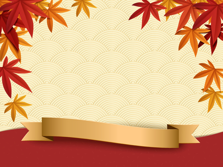 Fall season background design, maples frame isolated on japanese wave pattern background with golden labels in 3d illustration. Illustration