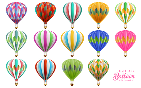 Hot air balloons collection set, colorful balloons in 3d illustration isolated on white background.