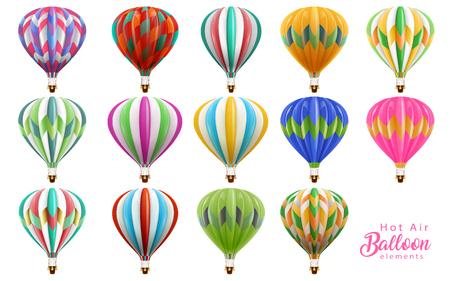 Conjunto de la colección de globos de aire caliente, globos de colores en la ilustración 3d aislado sobre fondo blanco. Ilustración de vector
