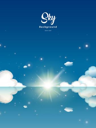 幻想的な青い空を背景、太陽の光と雲の息をのむの反射