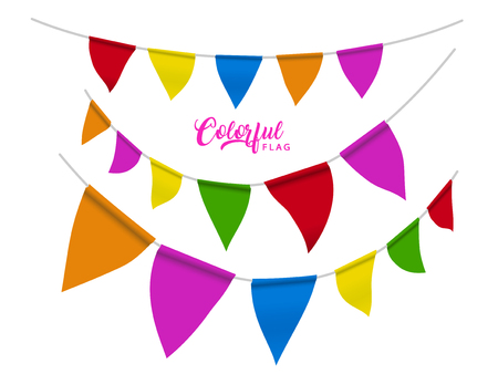Colorful flags elements design, rainbow color flags for party or carnival uses