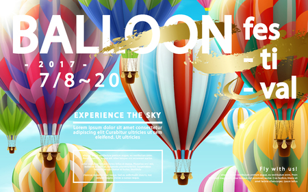 Balloon festival ads, hot air balloon tour for travel agency and website in 3d illustration, colorful hot air balloons flying in the air
