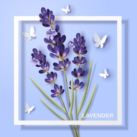 Het ontwerp van de lavendelbloem, aantrekkelijke bloem met document vlinders en wit kader in 3d illustratie Stock Illustratie