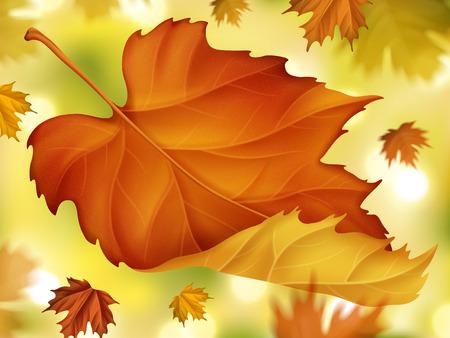 エレガントな秋紅葉背景、3 d イラストで背景のボケ味を持つ秋のモミジをクローズ アップ