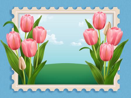Elegant Tulip bed, elegant floral scenery stamp in 3d illustration isolated on blue background
