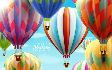 Hete lucht ballonnen in de lucht, kleurrijke ballonnen voor ontwerp gebruikt in 3d illustratie met heldere blauwe hemel