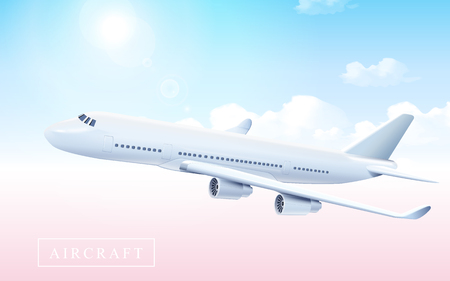 Blank aircraft model flying in the shiny sky in 3d illustration
