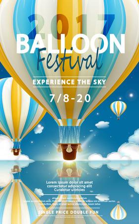 Anuncios de festival de globos, recorrido en globo aerostático para agencia de viajes y sitio web en 3d ilustración.