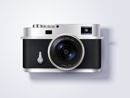 Isolated Camera design, delicate camera in 3d illustration, top view