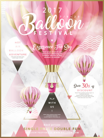Balloon festival ads, hot air balloon tour for travel agency and website in 3d illustration, romantic pink hot air balloons flying in the air with geometric elements Vettoriali
