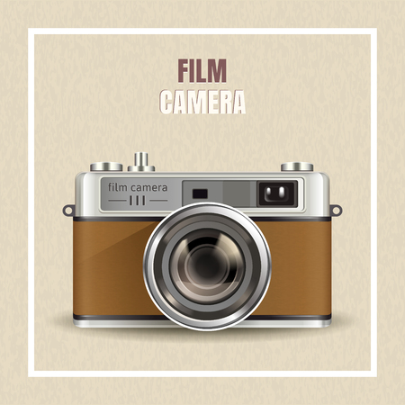Retro film camera design, realistic camera in 3d illustration as design elements