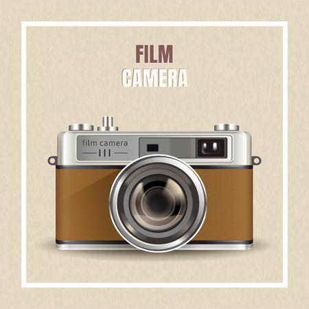 Retro ontwerp van de filmcamera, realistische camera in 3d illustratie als ontwerpelementen