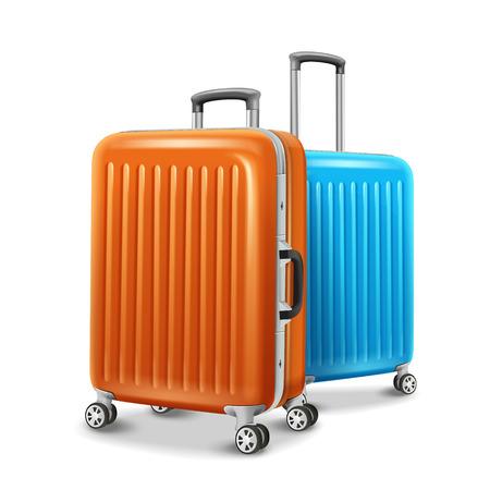 여행 수하물 요소, 두 여행 필수 정보 오렌지와 블루 3d 그림에서.