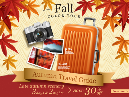 Fall color tour ads, autumn travel guide ads for travel agency or website with elegant maples frame and luggage, camera elements in in 3d illustration. Ilustração