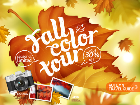 Fall color tour ads, autumn travel guide ads for travel agency or magazines with close up maple and bokeh background, realistic camera elements in 3d illustration.