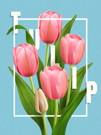Elegant Tulip poster, flower design elements in 3d illustration, elegant tulips isolated on simplicity blue background.