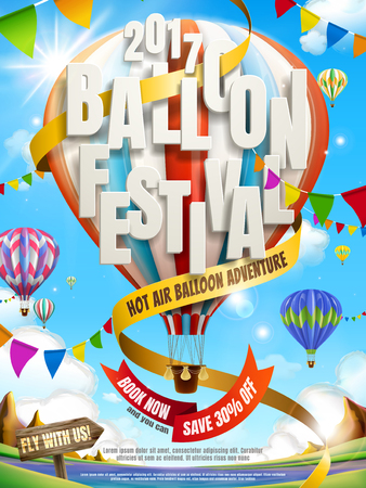 Balloon festival ads, hot air balloon tour for travel agency and website in 3d illustration, colorful hot air balloons with flags flying in the air. Çizim