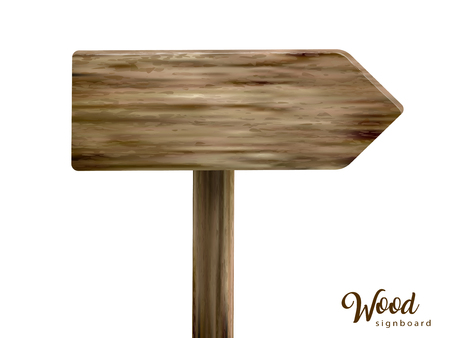 Wooden signboard design, blank board for design uses isolated on white background.