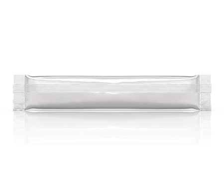 Blank stick pack mockup, 3d rendering plastic foil package for design uses isolated on white background