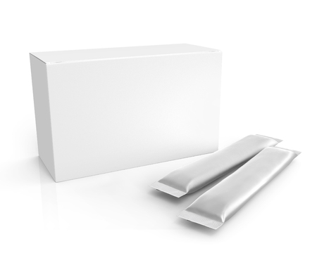 Blank foil package and paper box, long stick plastic pack for sugar, instant drink in 3d rendering, elevated view