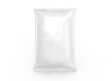 Pearl white foil package mockup, blank bag template for design uses in 3d rendering isolated on white background