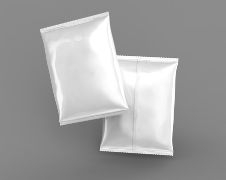 Pearl white foil package mockup, blank bag template for design uses in 3d rendering, front and back Stock fotó