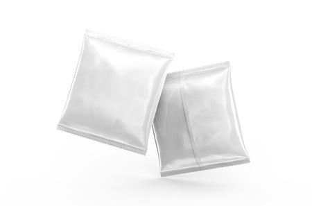Het pakketmodel van het folievoedsel, 3d teruggevend wit pakketmalplaatje voor ontwerpgebruik, voorzijde en rug