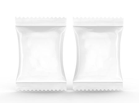 Crackers pakket sjabloon, blanco voedsel folie mockup voor ontwerp toepassingen in 3D-rendering, twee verpakkingen Stockfoto