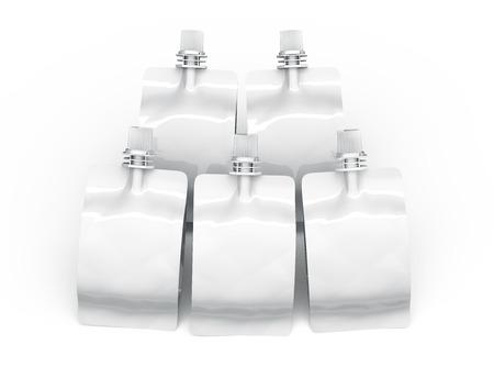 Sealed foil bag for drink, batch of blank foil bags mockup for beverage design in 3d rendering, Banco de Imagens