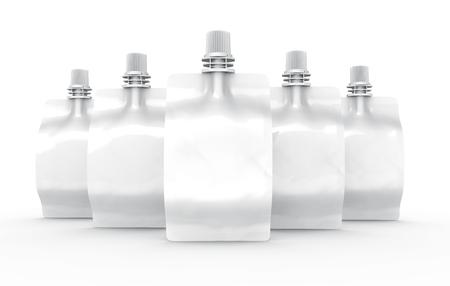 Sealed foil bag for drink, blank foil bags mockup for beverage design in 3d rendering, batch of standing bags