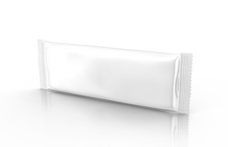 Blank food package mockup, one white bag template for snacks, sugar or instant coffee in 3d rendering, horizontal view