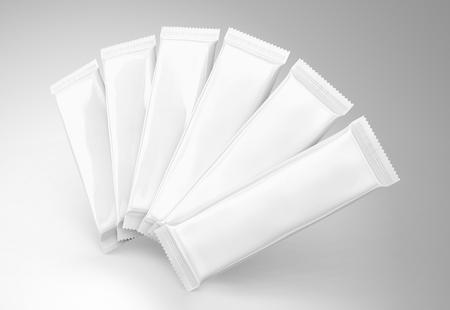 빈 음식 패키지 실물 크기, 6 흰색 가방 스낵, 설탕 또는 공기에 떠있는 3D 렌더링에 인스턴트 커피에 대 한 서식 파일