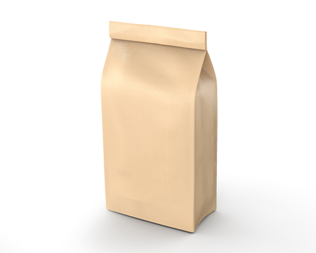 Coffee bean package mockup, blank craft paper bag template in 3d rendering isolated on white background